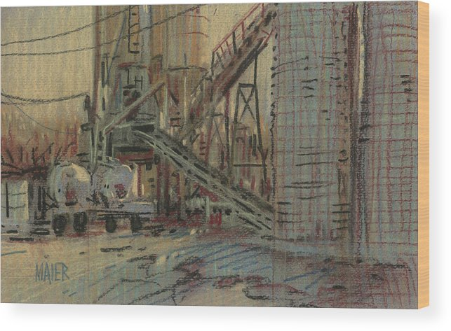 Cement Wood Print featuring the drawing Cement Company by Donald Maier
