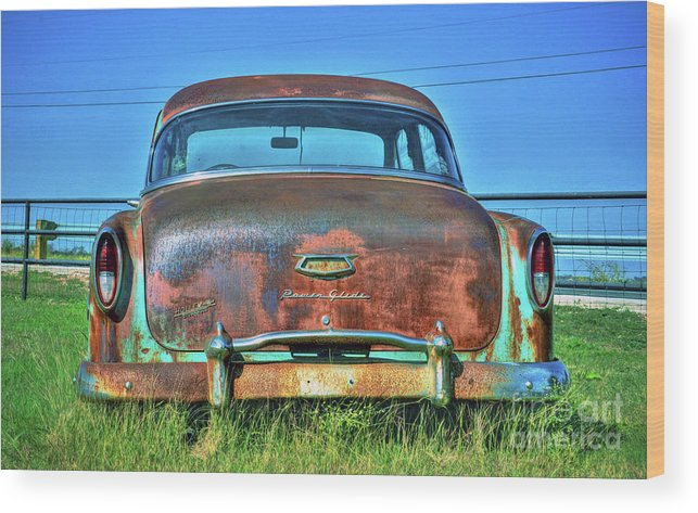 Wood Print featuring the photograph Chevrolet Power Glide 1954 by Savannah Gibbs
