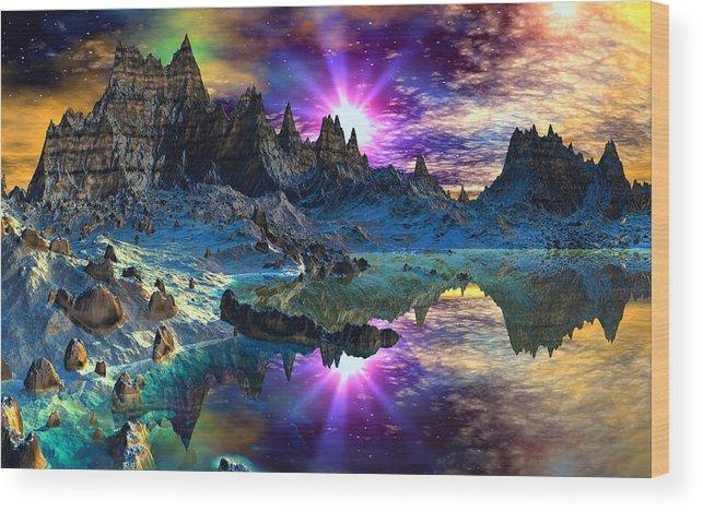 David Jackson Chosen Hills Sunrise Alien Landscape Planets Scifi Wood Print featuring the digital art Chosen Hills Sunrise by David Jackson