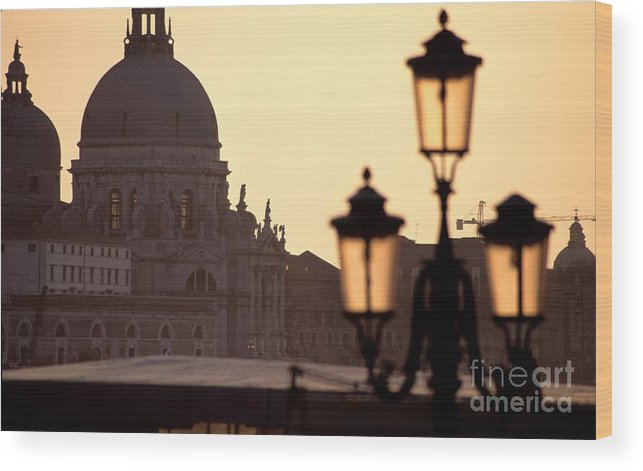 Venice Wood Print featuring the photograph Church Of Santa Maria Della Salute With Lamp Post by Michael Henderson