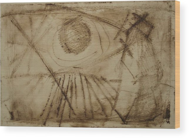 Etching Wood Print featuring the drawing Cosmic Directive by Stephen Hawks