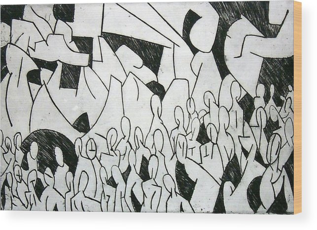 Etching Wood Print featuring the print Crowd by Thomas Valentine