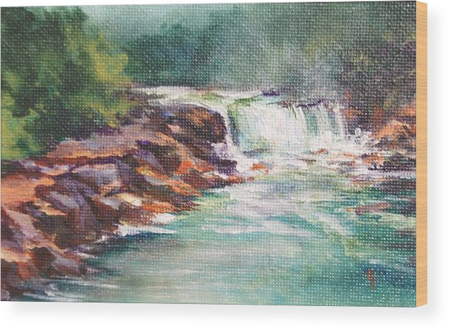 Waterfall Wood Print featuring the painting Cumberland Falls by Donna Pierce-Clark