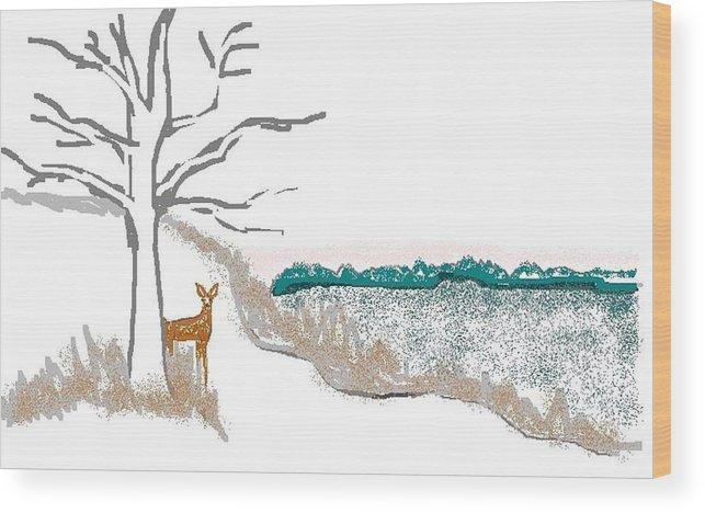 Deer Wood Print featuring the digital art Deer In Snow by Carole Boyd