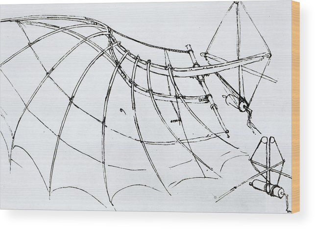 Diagram Of A Mechanical Wing Wood Print on