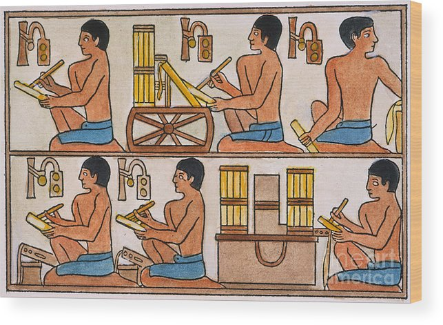 27th Century B.c. Wood Print featuring the photograph Egyptian Scribes by Granger