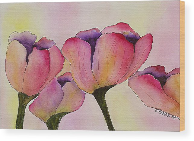 Tulips Wood Print featuring the print Elegant Tulips by Mary Gaines
