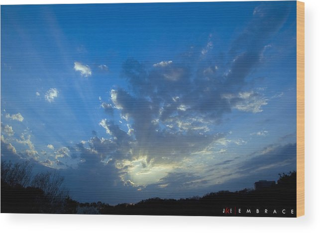 Sky Wood Print featuring the photograph Embrace by Jonathan Ellis Keys