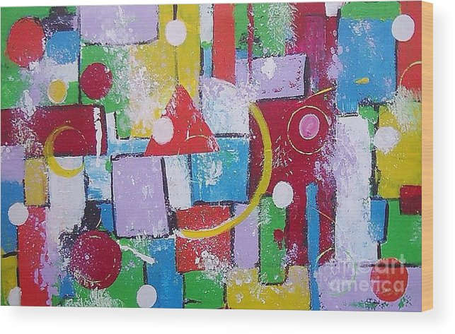 Abstract Wood Print featuring the painting Energie Field by Anita Dielen