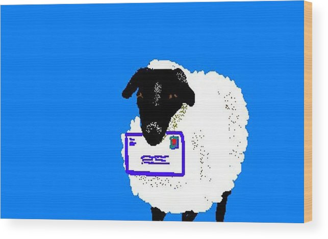 Sheep Wood Print featuring the digital art Ewe Have Mail by Carole Boyd