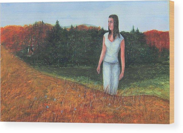 Fall Shadows Wood Print featuring the painting Fall Shadows by Robert Harrington