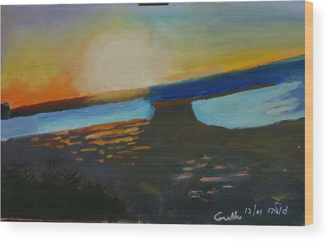 Seashore Wood Print featuring the painting Flaming Sunset  by Harris Gulko