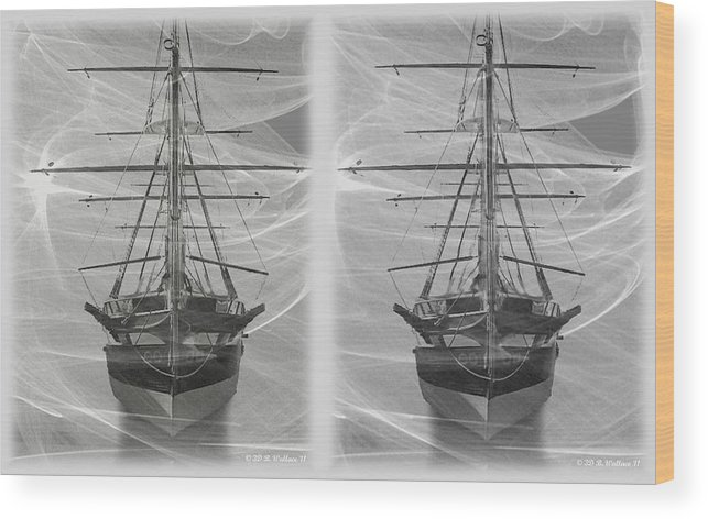 3d Wood Print featuring the photograph Ghost Ship - Gently Cross Your Eyes And Focus On The Middle Image by Brian Wallace