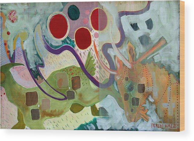 Abstract Expressionist Dream-surreal Wood Print featuring the painting Goat Squad by Eileen Hale