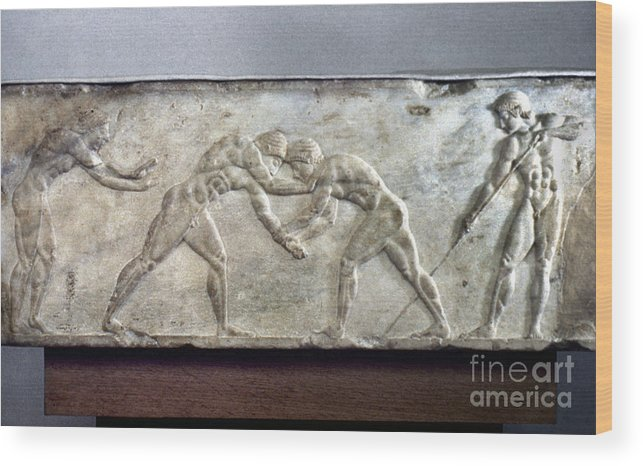 Ancient Wood Print featuring the photograph Greece: Wrestlers by Granger