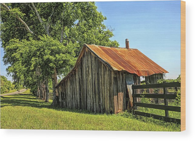 Barn Wood Print featuring the photograph Hill Country Barn by Judy Vincent