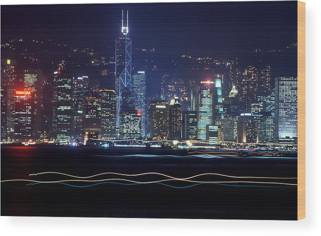 City Wood Print featuring the photograph Hong Kong Harbor by Brad Rickerby
