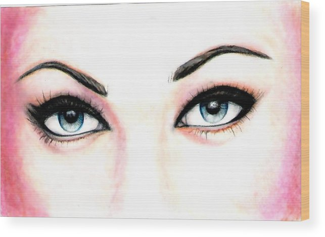 Eyes Wood Print featuring the drawing I See You by Scarlett Royal