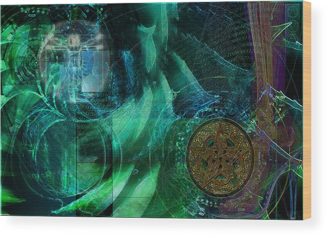 Digital Abstract Art Wood Print featuring the digital art inPhinity by Kenneth Armand Johnson