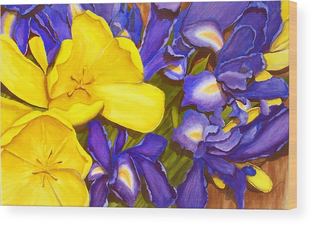 Watercolor Wood Print featuring the painting Iris Withtulip by Robert Thomaston