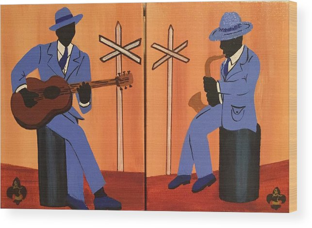 Musical Wood Print featuring the painting Jammin At The Crossroads by Gilda Thomas