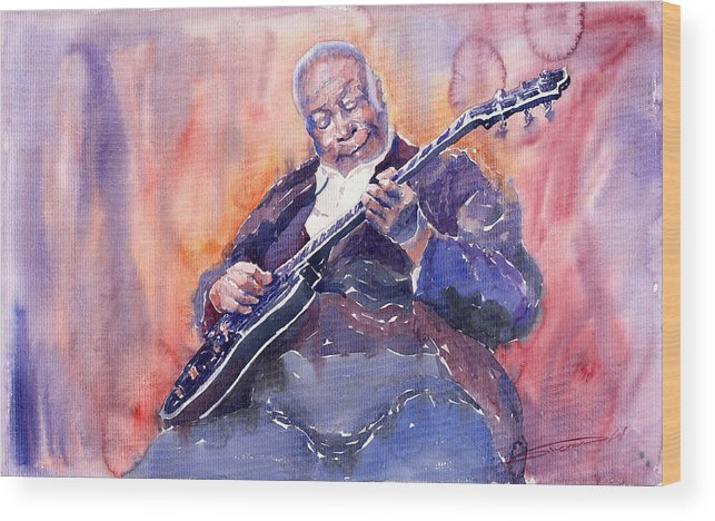 Jazz Wood Print featuring the painting Jazz B.b. King 03 by Yuriy Shevchuk