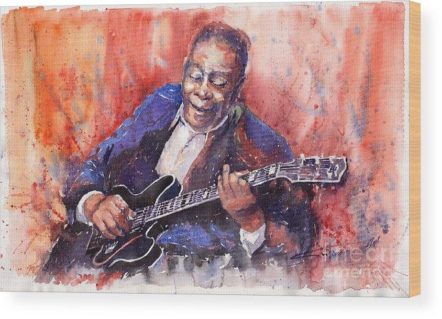 Jazz Wood Print featuring the painting Jazz B B King 06 A by Yuriy Shevchuk