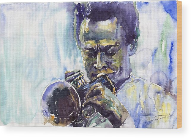 Jazz Miles Davis Music Musiciant Trumpeter Portret Wood Print featuring the painting Jazz Miles Davis 10 by Yuriy Shevchuk