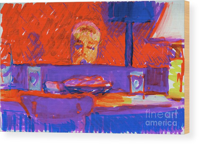 Kennebunkport Inn Singer Wood Print featuring the painting Kennebunkport Inn Piano Singer by Candace Lovely