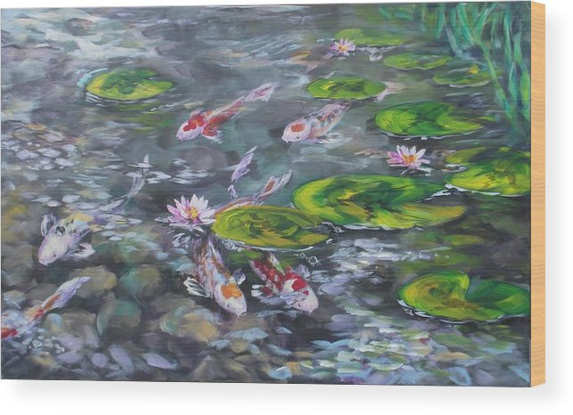 Koi Fish Lily Pad Pond Reeds Rocks Blue Green White Red Orange Water Waterscape Nature Wood Print featuring the painting Koi Haven by Alan Scott Craig