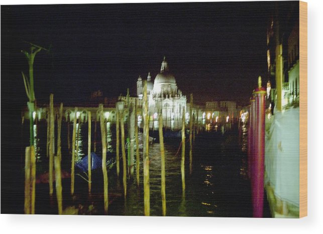 Venice Wood Print featuring the photograph Maria Della Salute In Venice At Night by Michael Henderson