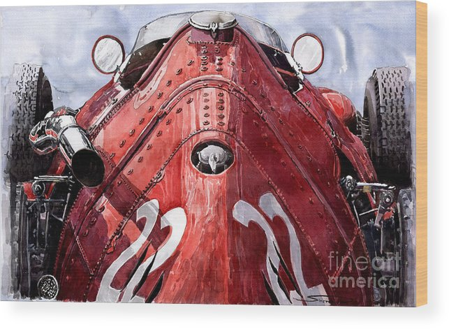 Watercolour Wood Print featuring the painting Maserati 250f Alien by Yuriy Shevchuk