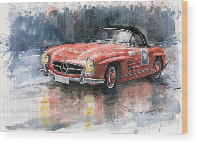 Auto Wood Print featuring the painting Mercedes Benz 300sl by Yuriy Shevchuk