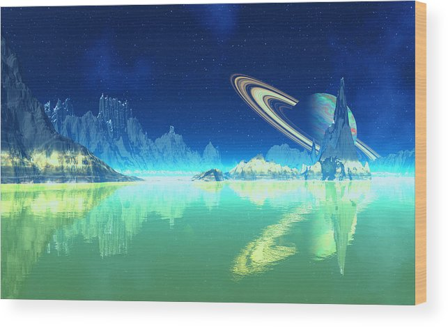 David Jackson Saturn Methane Seas Of Titan Alien Landscape Planets Scifi Wood Print featuring the digital art Methane Seas Of Titan by David Jackson