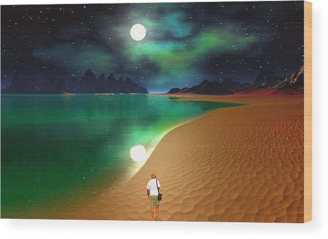 David Jackson Midnight Beach Walk - Sea Of Cortezz Alien Landscape Planets Scifi Wood Print featuring the digital art Midnight Beach Walk - Sea Of Cortezz by David Jackson