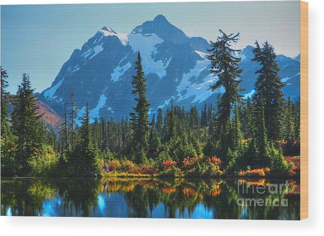 Mt. Shuksan Wood Print featuring the photograph Mt. Shuksan by Idaho Scenic Images Linda Lantzy