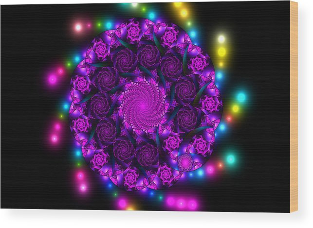 Elena Riim Wood Print featuring the digital art Multicolored Mosaica by Elena Riim