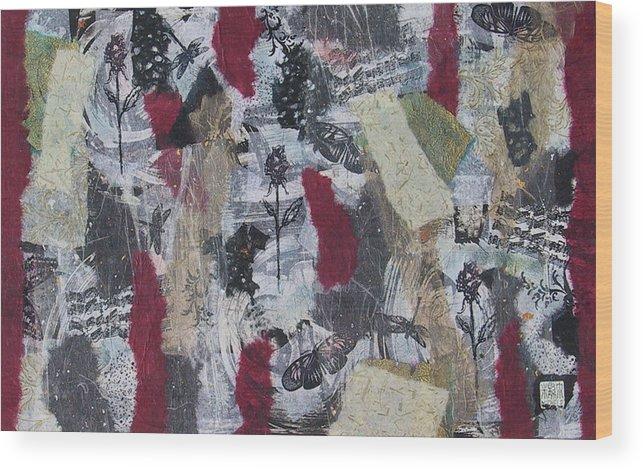 Collage Wood Print featuring the mixed media Music And Roses by Michele Caporaso