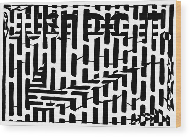 Just Do It Wood Print featuring the drawing Nike Maze by Yonatan Frimer Maze Artist