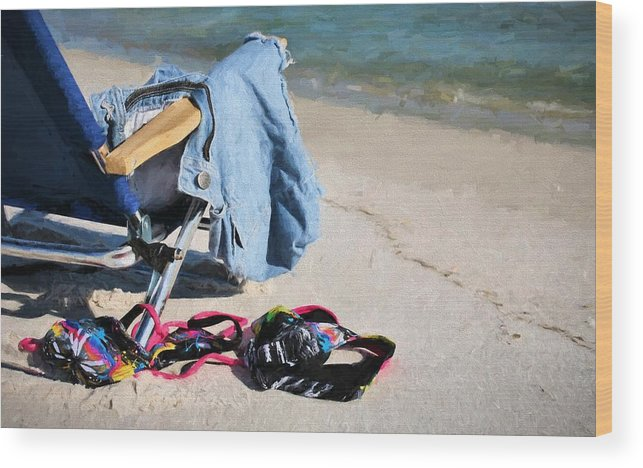 Skinny Dip Destin Wood Print featuring the photograph No Tan Lines Here by JC Findley