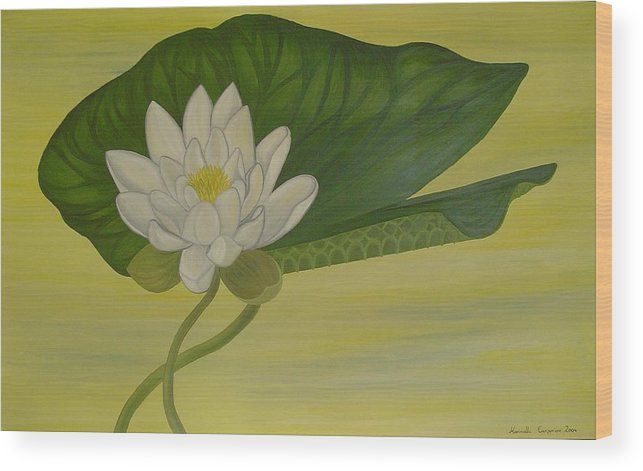 Marinella Owens Wood Print featuring the painting Nymphaea Alba by Marinella Owens