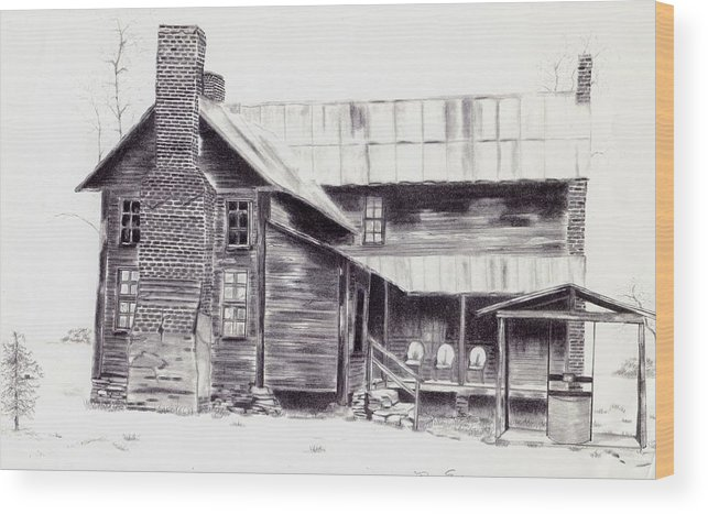Landscape Wood Print featuring the drawing Old Willard Home by Penny Everhart