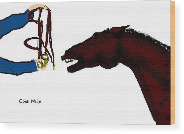Horse Wood Print featuring the digital art Open Wide by Carole Boyd