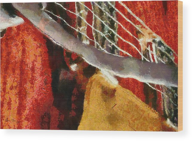 Guitar; Music; Orange; Gretsch; Musician; Band; Notes; Scale; Instrument; Strumming; Playing; Wood Print featuring the painting Orange Guitar by Russ Harris