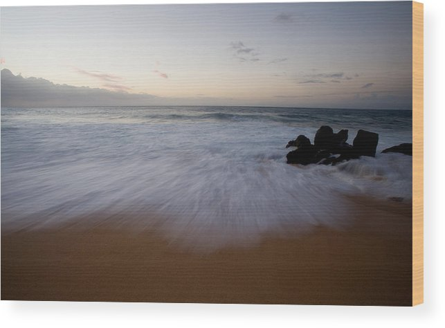 Water Wood Print featuring the photograph Pacific Wave On Beach - Oahu by Brad Rickerby