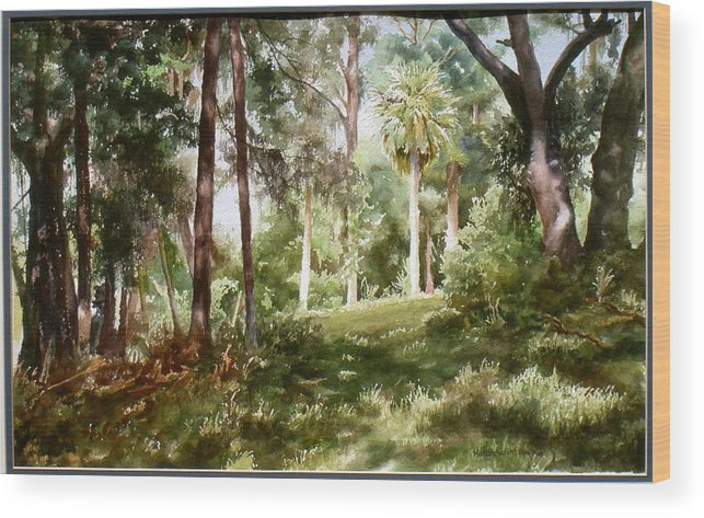 Nature Wood Print featuring the painting Path In The Woods by Marion Hylton