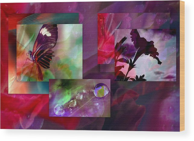Petunia Wood Print featuring the photograph Petunia Collage by Irma BACKELANT GALLERIES