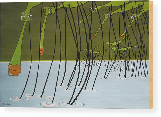Drawing Wood Print featuring the painting Pond Skaters by Patricia Van Lubeck
