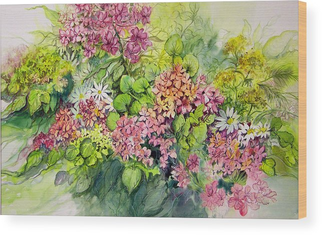 Flowers;floral;watercolor Floral;contemporary Floral;daisies; Wood Print featuring the painting Profusion Of Colors by Lois Mountz