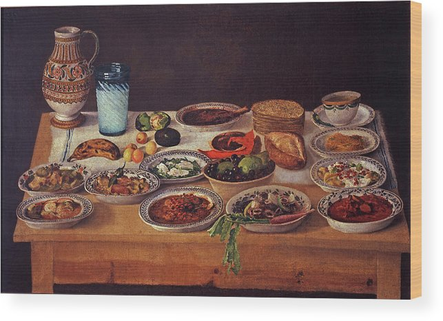 Puebla Kitchen Wood Print featuring the painting Puebla Kitchen by Anonymous Painter